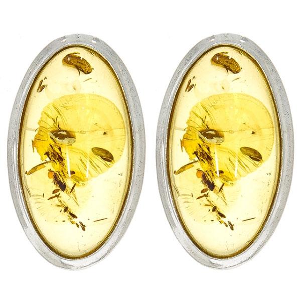 Cercei argint eleganți pe lob cu chihlimbar galben miere [0]