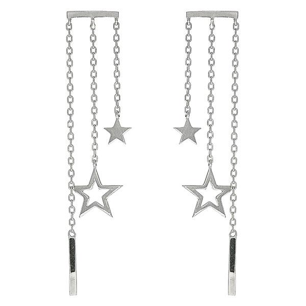Cercei lungi din argint cu lănțișoare și steluțe [0]