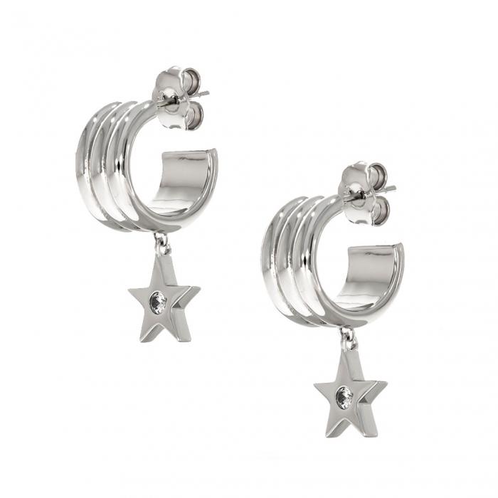 Cercei argint semi-rotunzi cu steluță atașată [0]