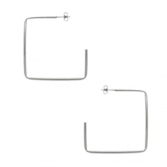 Cercei statement din argint în formă de pătrat deschis [0]