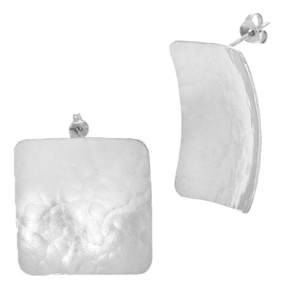 Cercei argint satinat mat pătrați pe lob [2]