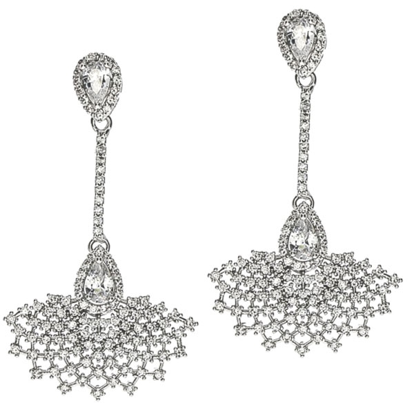 Cercei eleganți pentru mirese cu design dantelat și cristale [0]