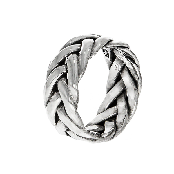 Inel împletit din argint antichizat [0]