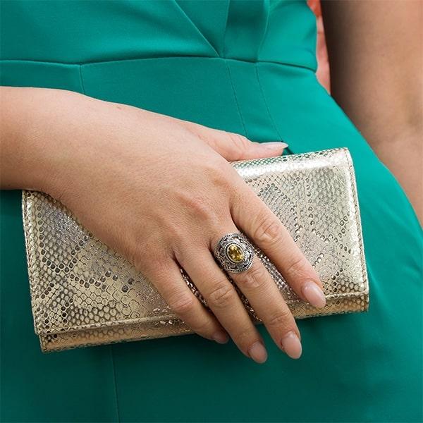 Inel din argint antichizat cu motive florale lucrate manual și citrin [1]