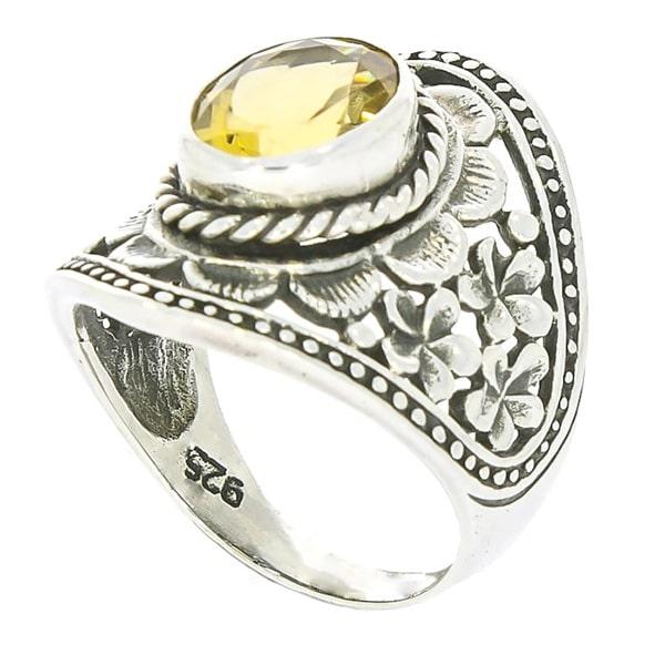 Inel din argint antichizat cu motive florale lucrate manual și citrin [3]