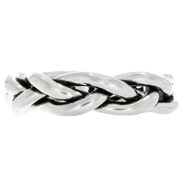 Inel stil verighetă din argint împletit antichizat [0]