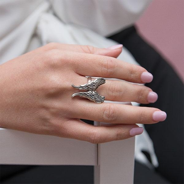 Inel argint antichizat model aripi cu cristale de marcasită [1]