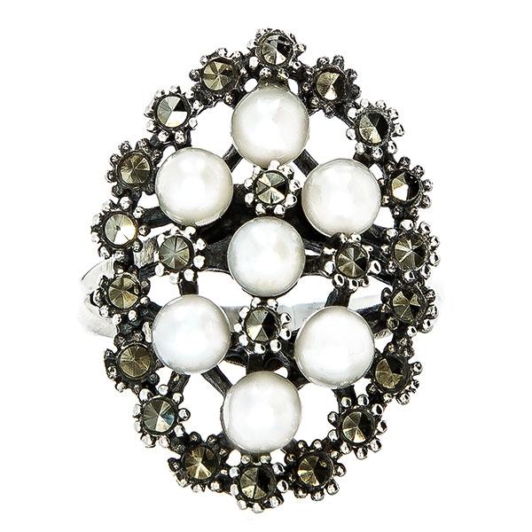 Inel elegant din argint antichizat cu cristale de marcasită și perle [0]