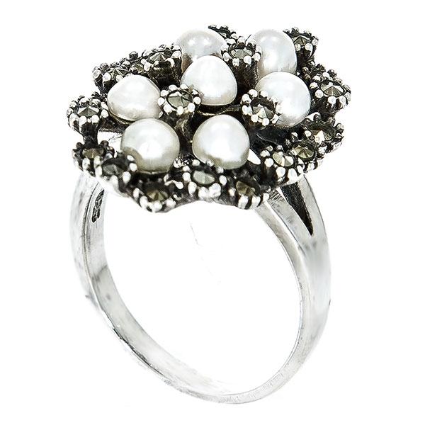 Inel elegant din argint antichizat cu cristale de marcasită și perle [2]