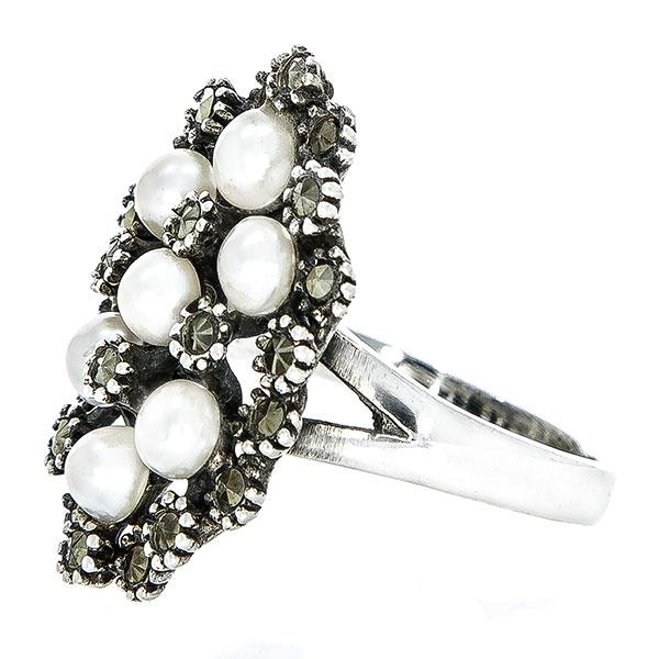 Inel elegant din argint antichizat cu cristale de marcasită și perle [3]