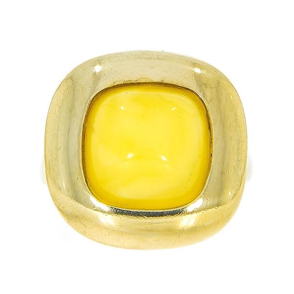 Inel din argint placat cu aur și piatră de chihlimbar galben baltic natural [2]