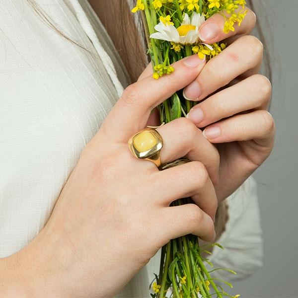 Inel din argint placat cu aur și piatră de chihlimbar galben baltic natural [0]