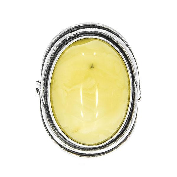 Inel din argint antichizat oval cu chihlimbar galben mat [1]