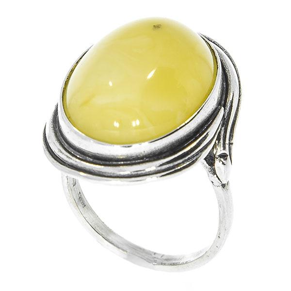 Inel din argint antichizat oval cu chihlimbar galben mat [4]
