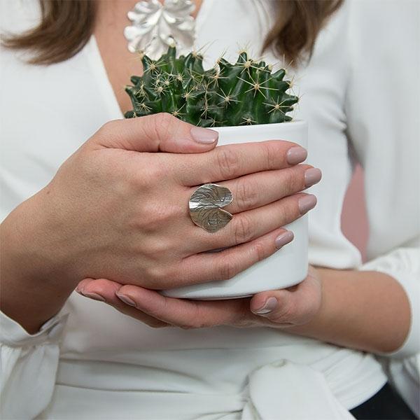 Inel din argint antichizat handmade model frunză [1]