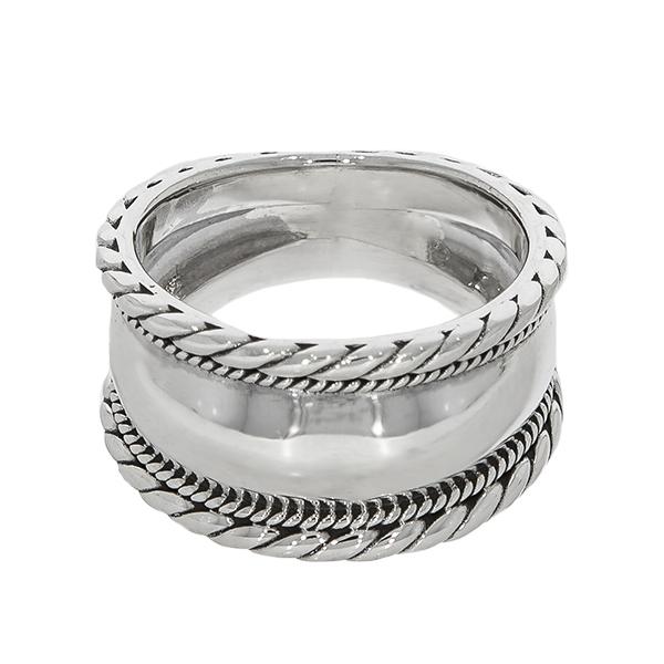 Inel verighetă lată din argint cu detalii antichizate [0]