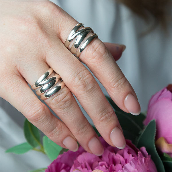 Inel din argint, model lat [5]