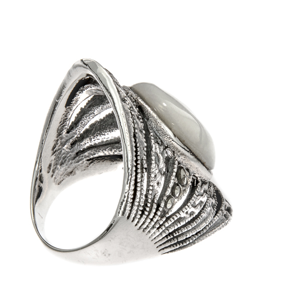 Inel din argint antichizat lat cu marcasite și sidef alb [3]