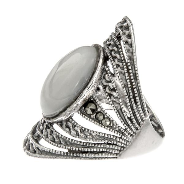 Inel din argint antichizat lat cu marcasite și sidef alb [4]
