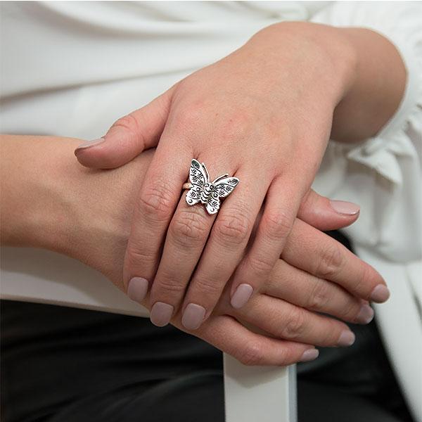 Inel din argint antichizat fluture [1]