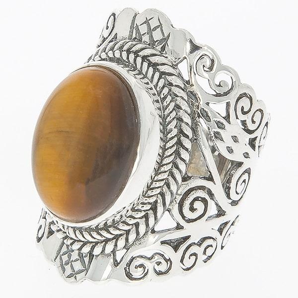 Inel statement din argint antichizat lucrat manual cu piatră ochi de tigru [2]