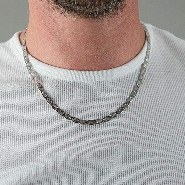 Lanț din argint pentru bărbați, cu plăcuțe, model grecesc [0]