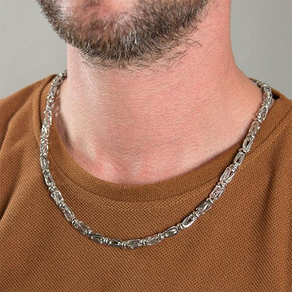 Lanț lung bărbătesc din argint, model bizantin cu elemente masive [0]