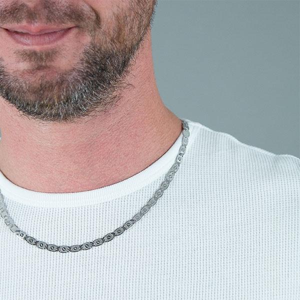 Lanț bărbătesc din argint, model cu plăcuțe gravate [2]