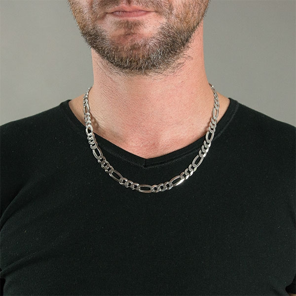 Lanț din argint figaro masiv pentru bărbați [1]