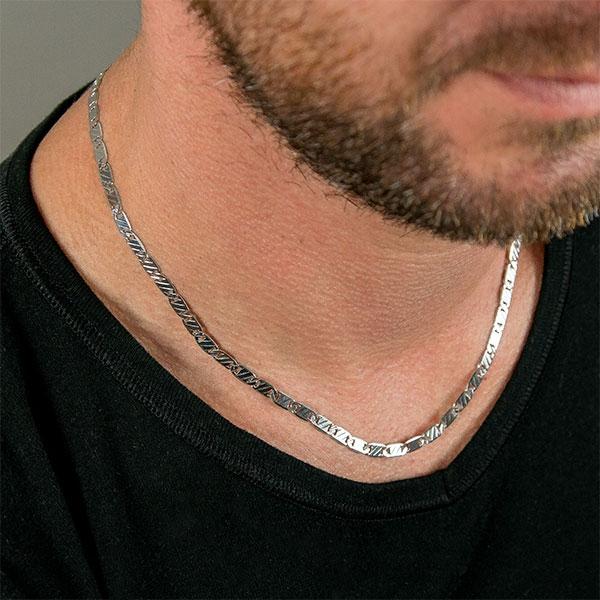 Lanț din argint pentru bărbați, lungime medie, model plăcuțe gravate [1]