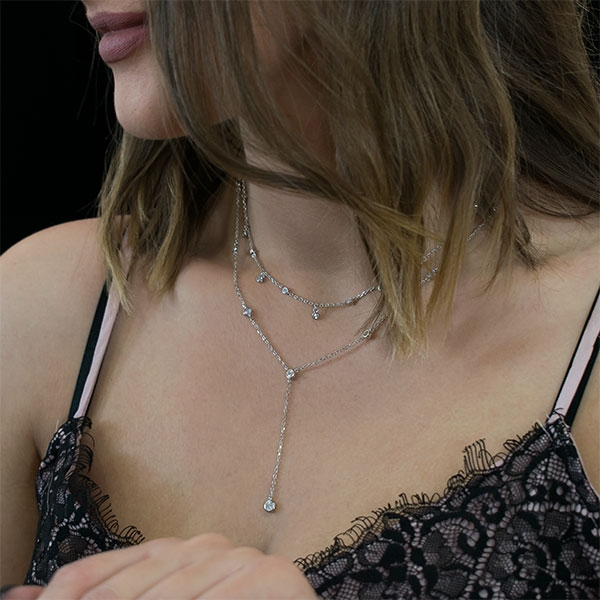 Lantisor argint rodiat lung cu cristale [1]
