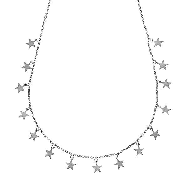 Lănțișor finuț din argint rodiat cu steluțe [0]