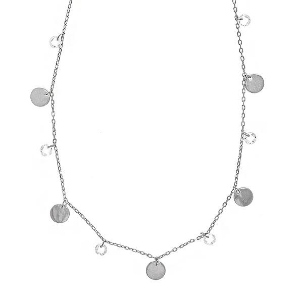 Lănțișor argint rodiat cu bănuți și cristale [0]
