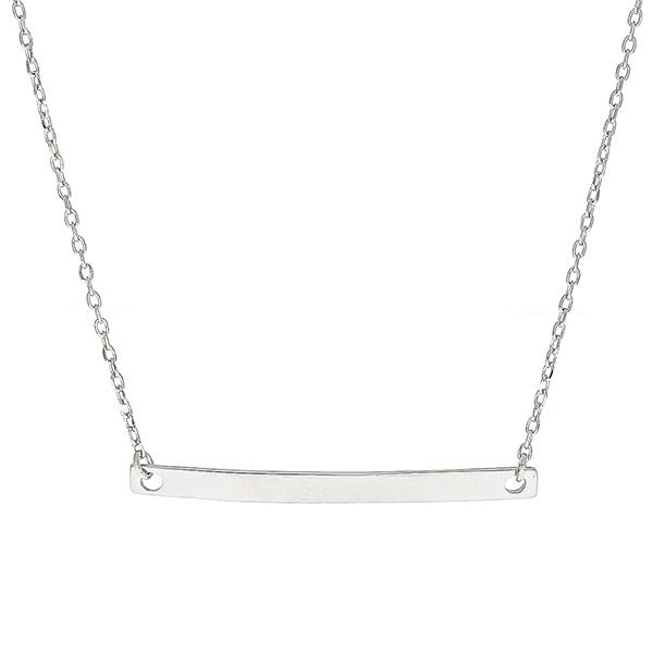 Colier din argint placat cu rodiu si pandantiv placuta [0]