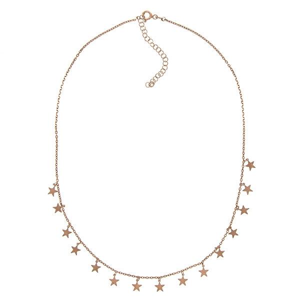 Lănțișor argint placat cu aur rose cu steluțe [2]