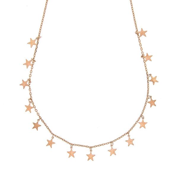 Lănțișor argint placat cu aur rose cu steluțe [0]