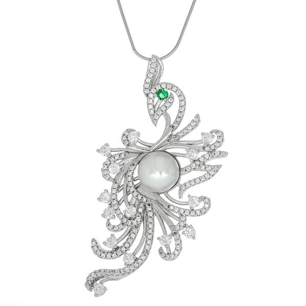 Pandantiv supradimensionat din argint rodiat cu perlă și cristale strălucitoare [2]