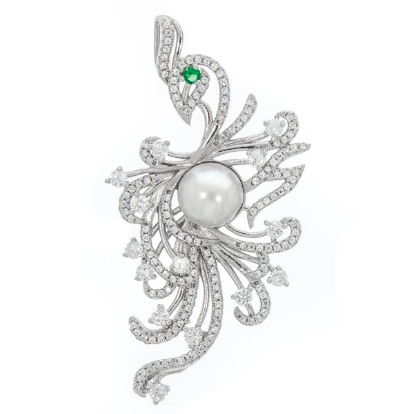 Pandantiv supradimensionat din argint rodiat cu perlă și cristale strălucitoare [0]