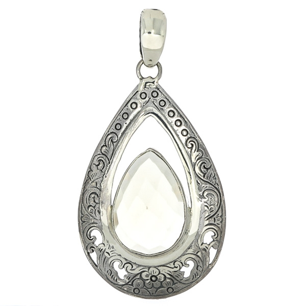 Pandantiv din argint în formă de lacrimă cu motive florale și citrin fațetat [0]