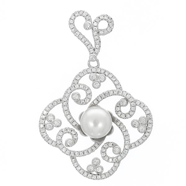 Pandantiv elegant din argint 925 cu perlă și cristale strălucitoare [0]