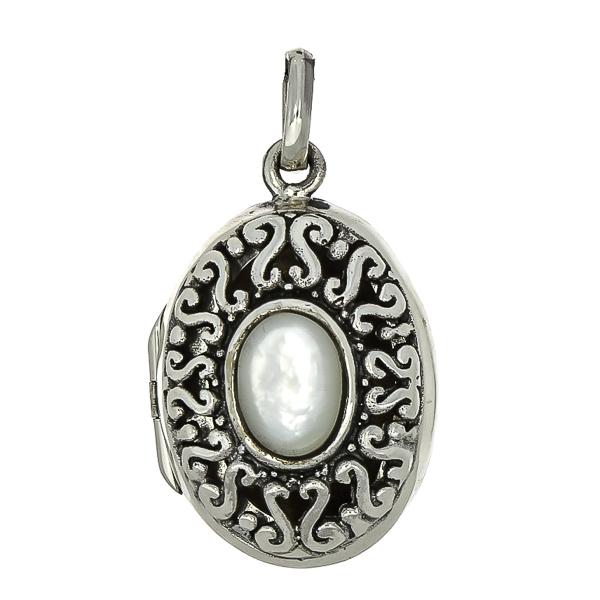 Pandantiv-casetă din argint decorat cu piatră de sidef [0]