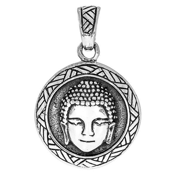 Pandantiv rotund din argint antichizat cu figura unui Buddha [1]