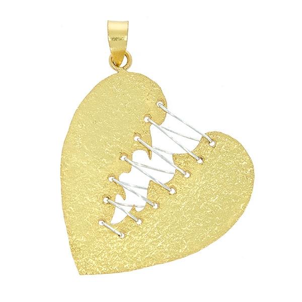 Pandantiv din argint satinat aurit în formă de inimă cusută [0]