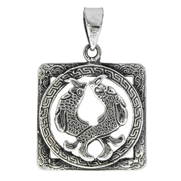 Pandantiv pătrat din argint antichizat cu doi pești încadrați într-un cerc cu model grecesc [0]