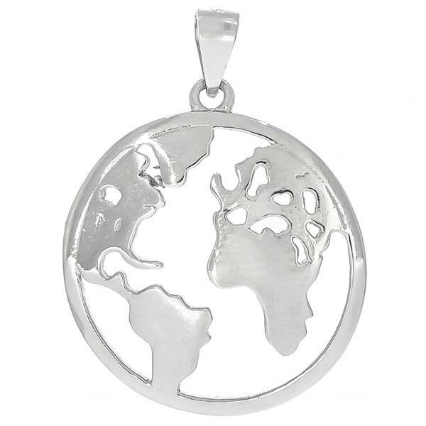 Pandantiv rotund din argint rodiat cu harta lumii [0]