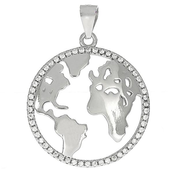 Pandantiv rotund din argint rodiat cu harta lumii și zirconii [0]