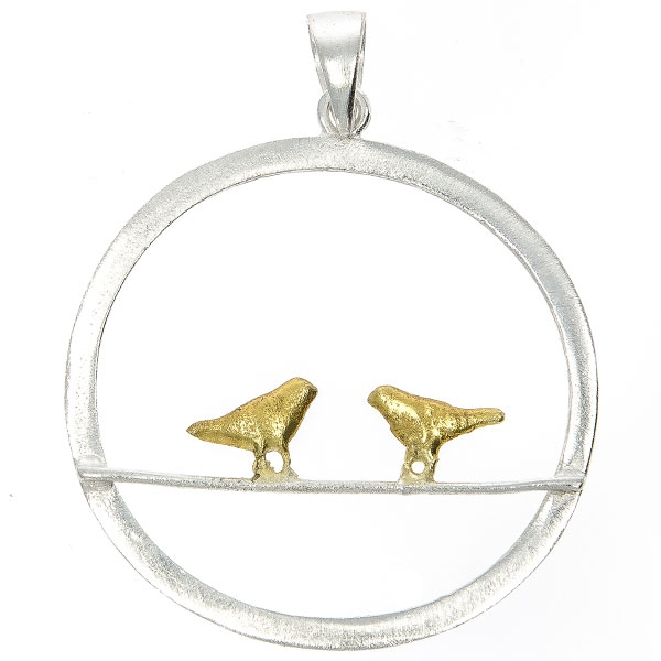 Pandantiv cerc din argint satinat argintiu cu păsărele aurii [0]