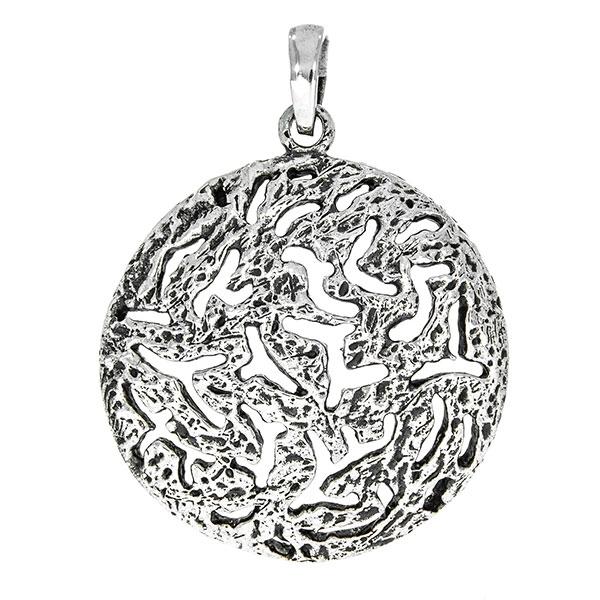 Pandantiv rotund din argint antichizat cu suprafață nedefinită, decupată [1]
