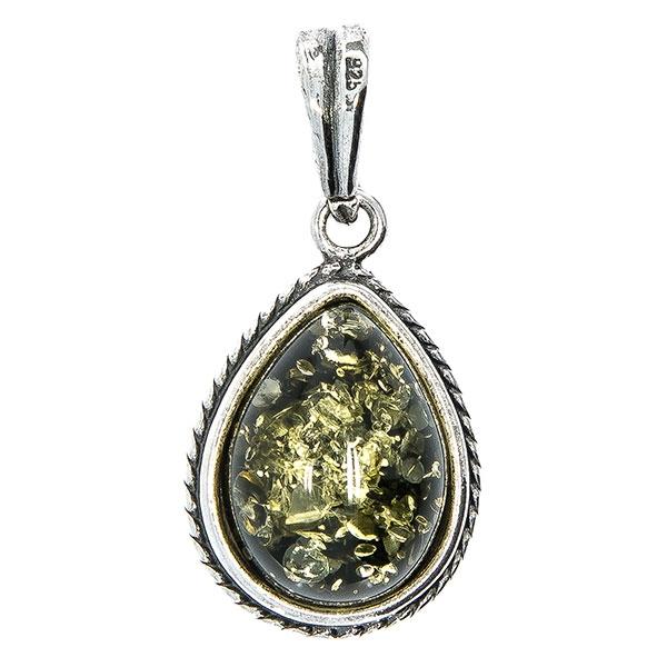 Pandantiv dublu din argint antichizat cu chihlimbar verde și galben [0]