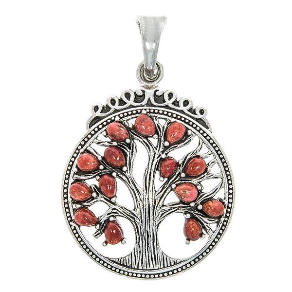 Pandantiv statement din argint antichizat cu arborele vieții și pietre naturale de coral [1]